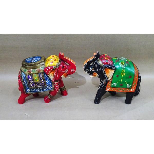 Mehar Arts Wooden Handpainted Elephants set of 2