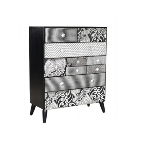 Om Shiv Shakti Aiden 10 Drawer Black White Cabinet