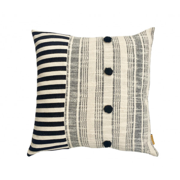 Cotton cushion cover with stripe design