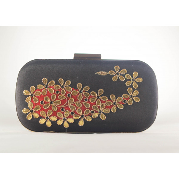 Traditional gotta ABS+Metal Frame stitched Satin Clutch