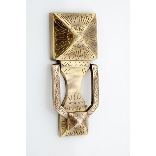 Kodia Square Antique Solid Brass Heavy Door Knocker
