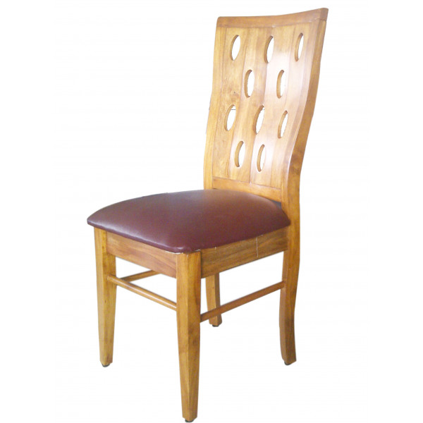 Natural Wood Dining Chair with Circular Design