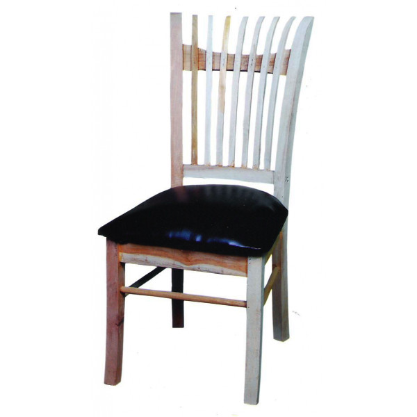 Black dining chair with white stripes