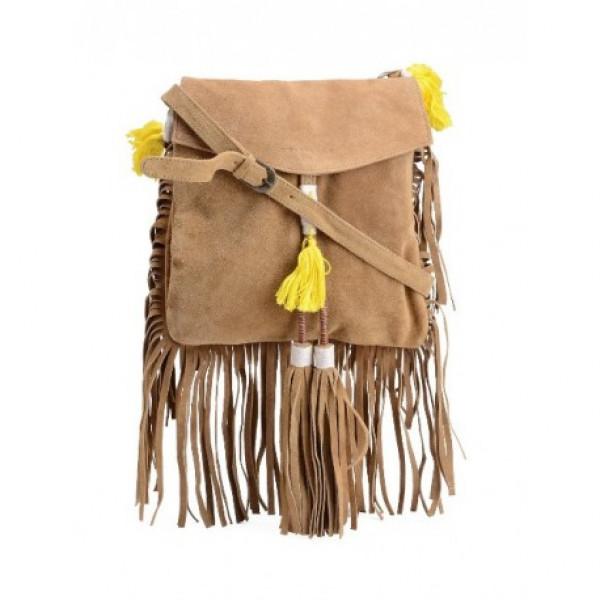 Yellow Fringe Leather Sling Bag