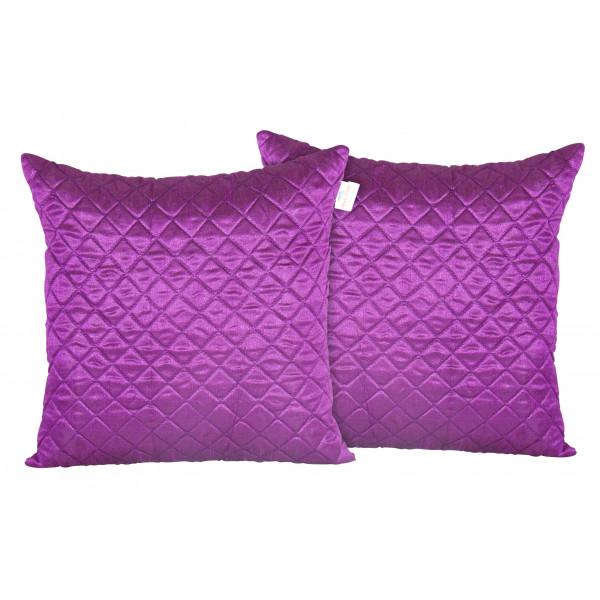 Zikrak Exim Set of 2 Poly Dupion Cushion Covers purple cross stitch embroidery 40X40 cm (16X16)