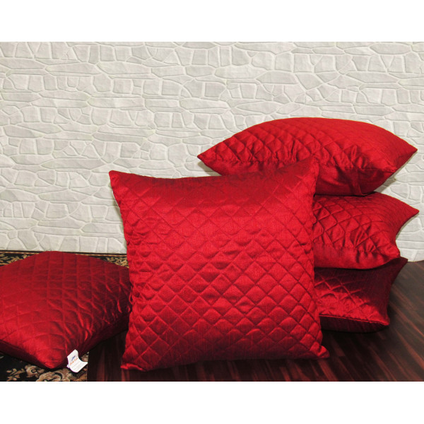 Zikrak Exim Set of 5 Poly Dupion Cushion Covers red cross stitch embroidery  40X40 cm (16X16)
