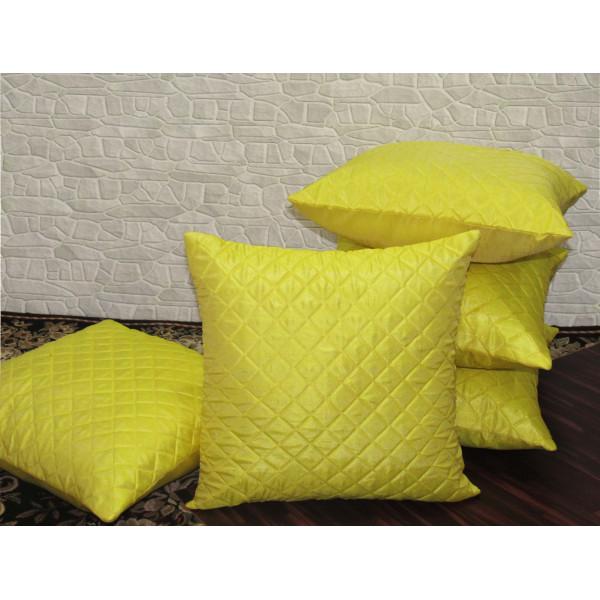 Zikrak Exim Set of 5 Poly Dupion Cushion Covers yellow cross stitch embroidery 40X40 cm (16X16)