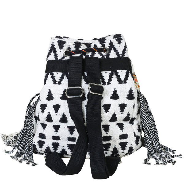 White & Black Fabric Backpack
