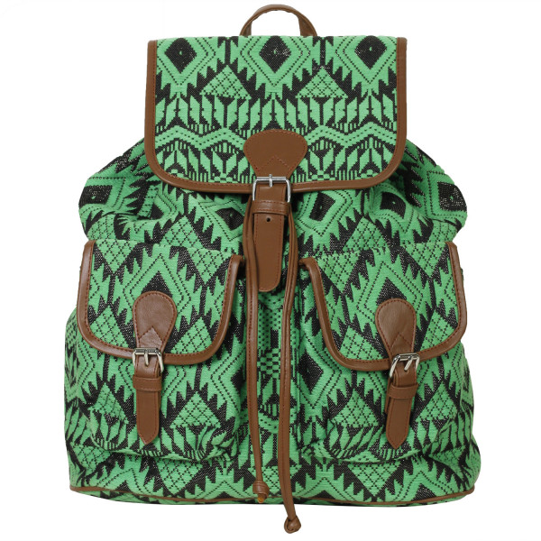 Reggel Green Jacquard fabric Backpack