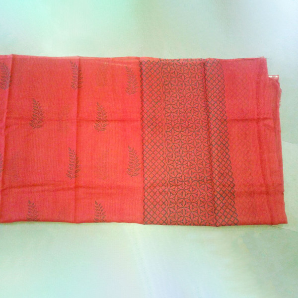Red hand block printed suit and duppatta fabric