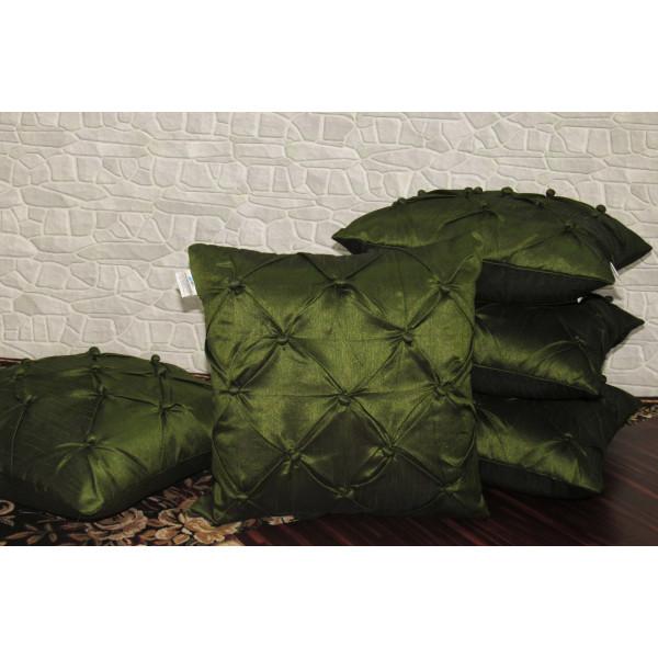 Zikrak Exim Set of 5 Poly Dupion Cushion Covers green smocking   40X40 cm (16X16)