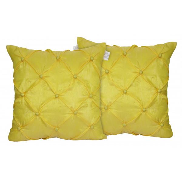 Zikrak Exim Set of 2 Poly Dupion Cushion Covers yellow smocking embroidery  40X40 cm (16X16)
