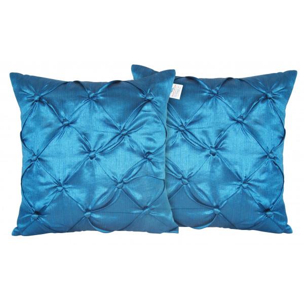 Zikrak Exim Set of 2 Poly Dupion Cushion Covers blue smocking embroidery 40X40 cm (16X16)