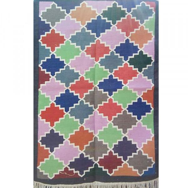 Multicolored Zig Zag Cotton Dhurry