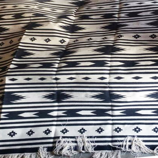 Black and White Cotton Dhurry