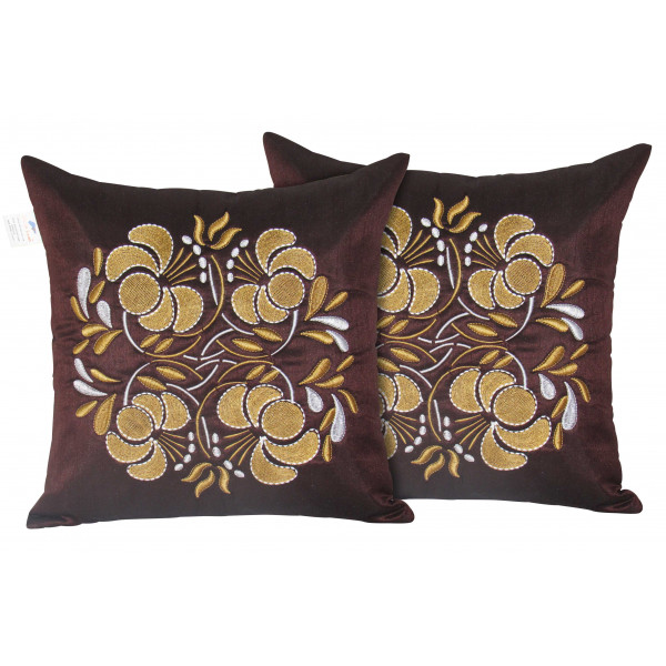 Zikrak Exim Set of 2 Poly Dupion Cushion Covers maroon gold flower embroidery 40X40 cm (16X16)
