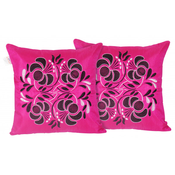 Zikrak Exim Set of 2 Poly Dupion Cushion Covers 40X40 cm pink flower embroidery (16X16)