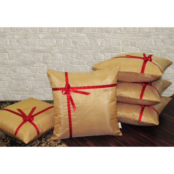 Zikrak Exim Set of 5 Poly Dupion Cushion Covers baze with ribbon  40X40 cm (16X16)