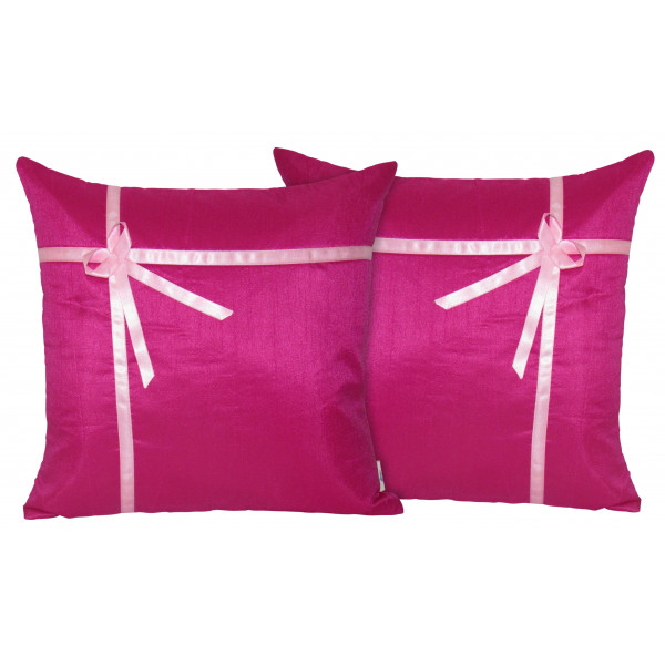 Zikrak Exim Set of 2 Poly Dupion Cushion Covers pink with ribbon 40X40 cm (16X16)