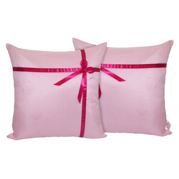 Zikrak Exim Set of 2 Poly Dupion Cushion Covers 40X40 cm Light pink with ribbon (16X16)