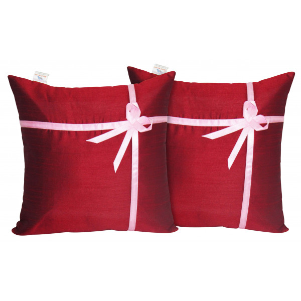 Zikrak Exim Set of 2 Poly Dupion Cushion Covers Solid red with ribbon 40X40 cm (16X16)