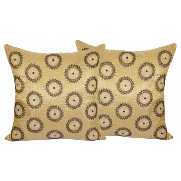 Zikrak Exim Set of 2 Poly Dupion Cushion Covers circle zig zag embroidery 40X40 cm (16X16)