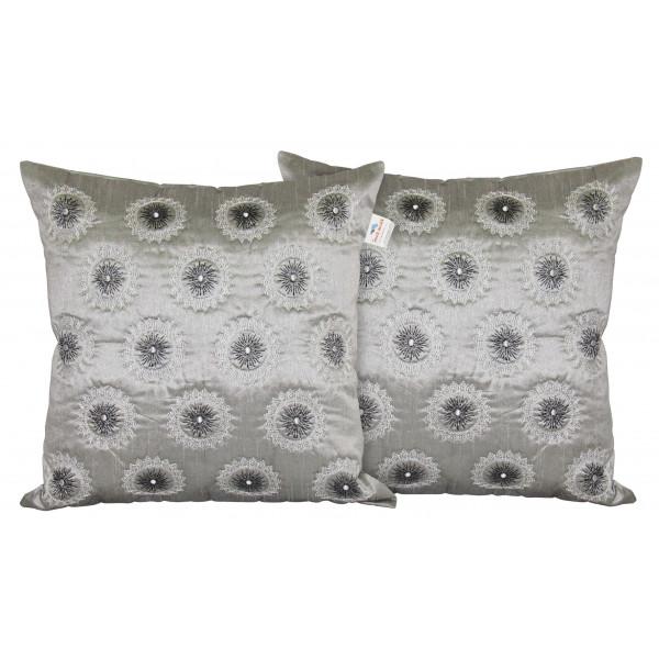 Zikrak Exim Set of 2 Poly Dupion Cushion Covers grey circlr embroidery 40X40 cm (16X16)