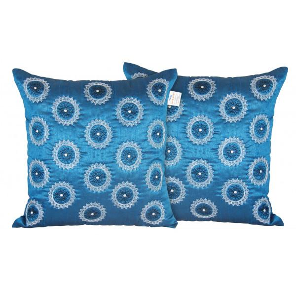 Zikrak Exim Set of 2 Poly Dupion Cushion Covers  blue circle zig zag embroidery 40X40 cm (16X16)