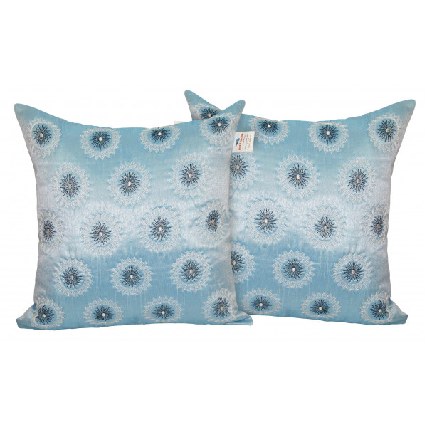 Zikrak Exim Set of 2 Poly Dupion Cushion Covers light blue circle zig zag embroidery  40X40 cm (16X16)