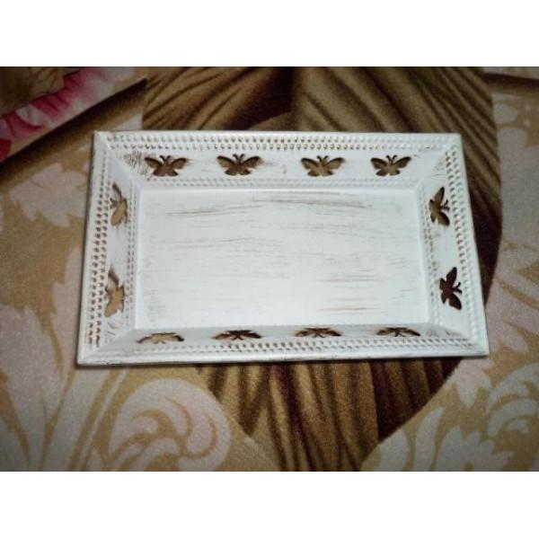 Golden antique rectangle tray