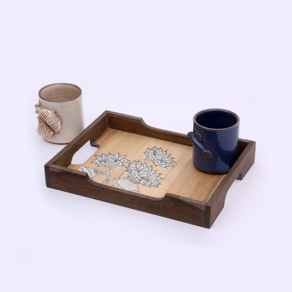 Wooden tray with ceramic mug and coaster