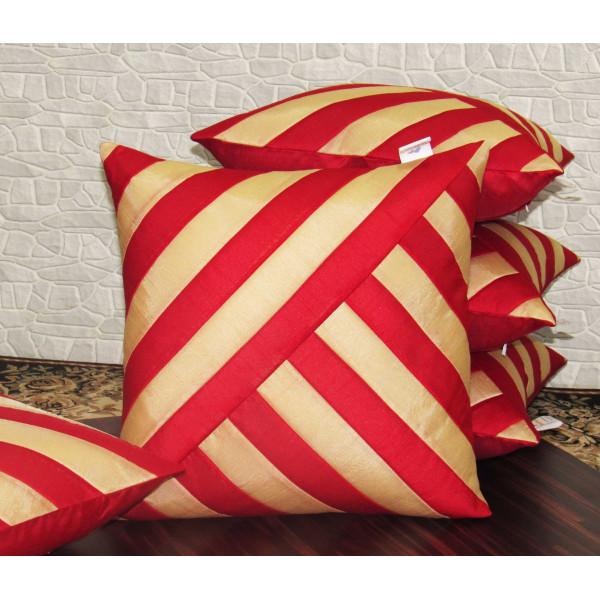 Zikrak Exim Set of 5 Poly Dupion Cushion Covers red white stripe  40X40 cm (16X16)
