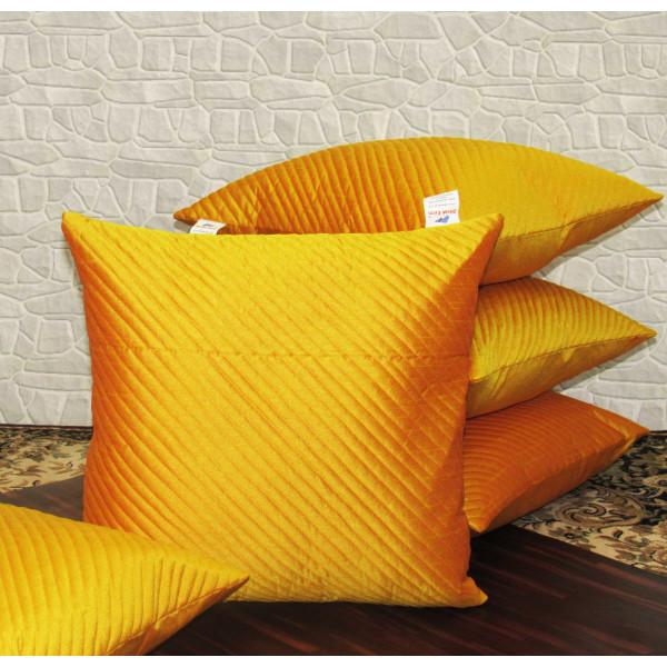 Zikrak Exim Set of 5 Poly Dupion Cushion Covers orange solid color 40X40 cm (16X16)