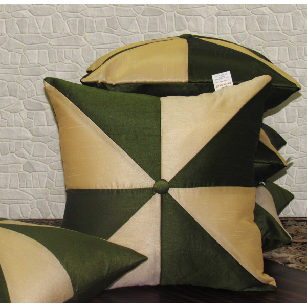 Zikrak Exim Set of 5 Poly Dupion Cushion Covers green and off white patch  40X40 cm (16X16)