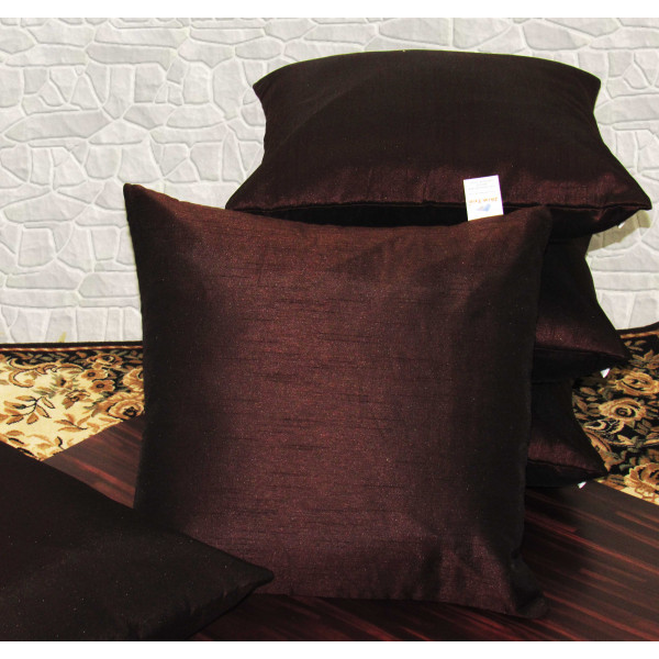 Zikrak Exim Set of 5 Poly Dupion Cushion Covers solid maroon 40X40 cm (16X16)