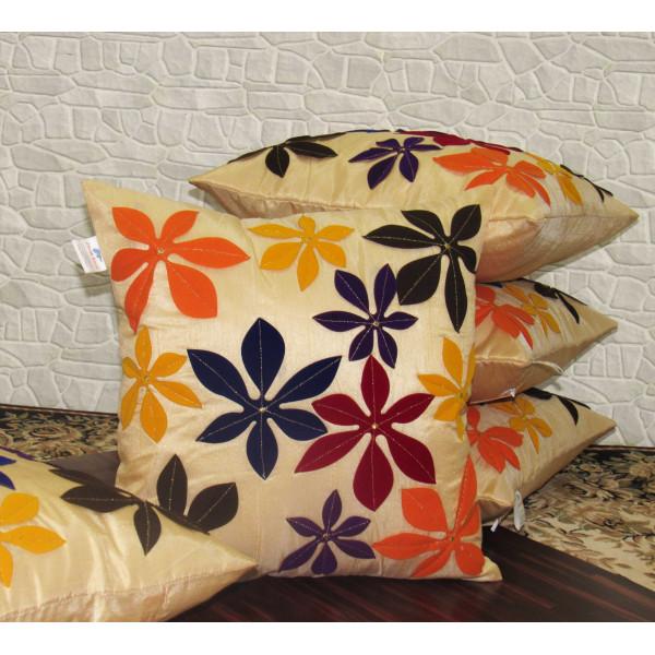 Zikrak Exim Set of 5 Poly Dupion Cushion Covers 40X40 cm off white floral print  (16X16)