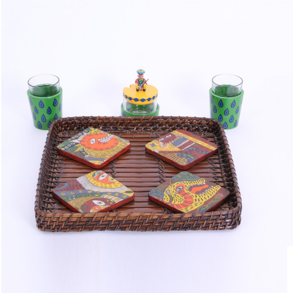 Banarasi chai glass set of 2 and chutney jar with hand painted coaster set of 4 in basket