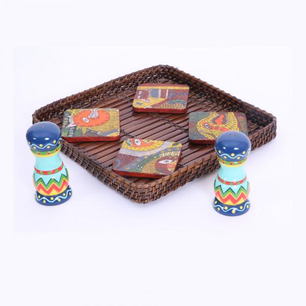 Basket with Salt and pepper dispenser and coaster set of 4