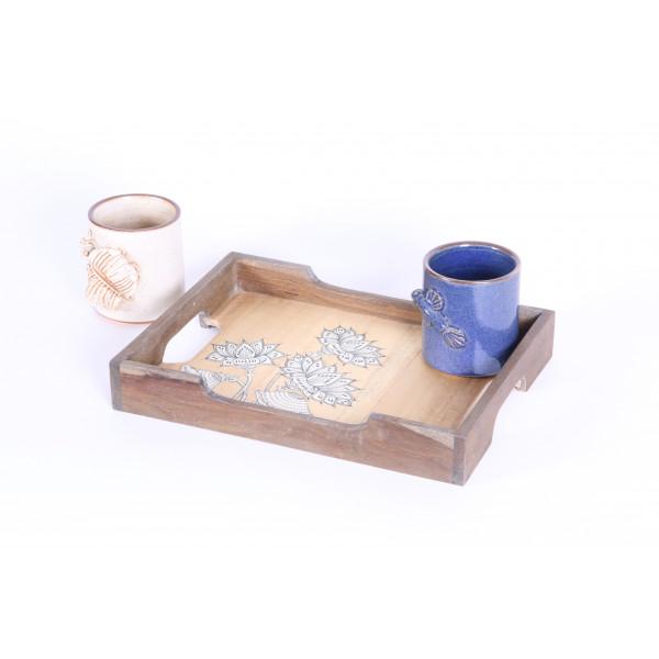 Pattachitra tray with ceramic mug