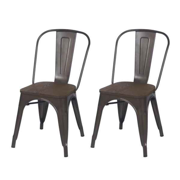 Metal Stackable Dining Chairs Black Bronze Set of 2