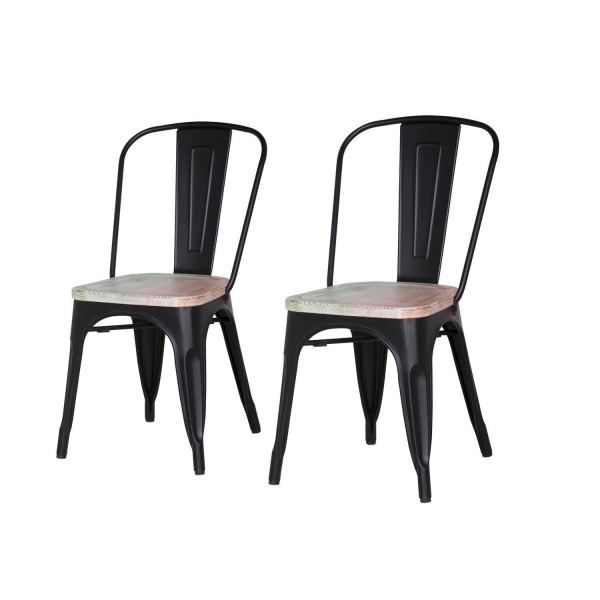 Metal Stackable Dining Chairs Black Set of 2