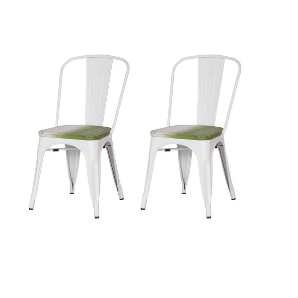 Metal Stackable Dining Chairs White Set of 2