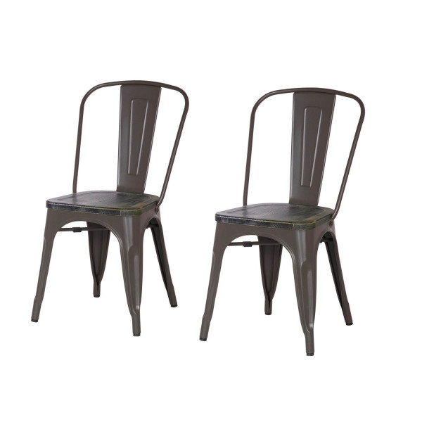 Metal Stackable Dining Chairs Matte Dimgrey Set of 2