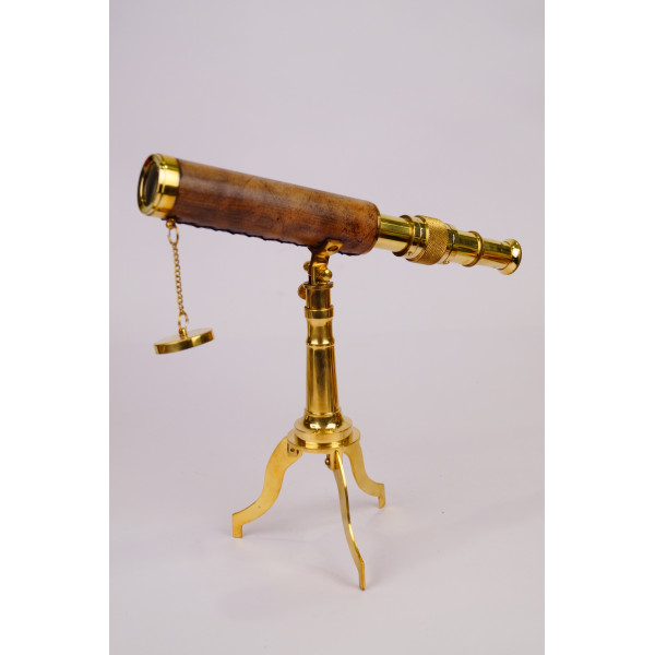 VINATGE TABLE TELESCOPE WITH BRASS STAND AND LEATHER COATED LENS