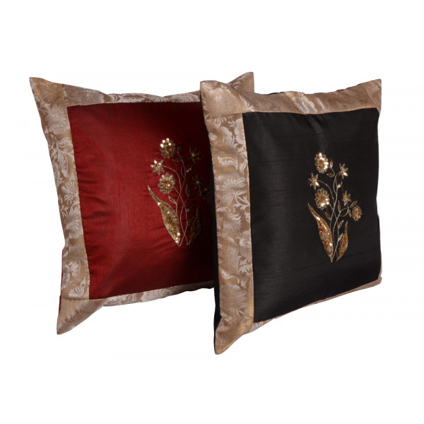 meSleep Hand Embroidery Cushion Cover (16x16) - Set of  2