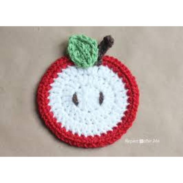 Apple Crochet Coaster - set of 6