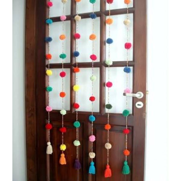 Pom Pom Crochet Curtain