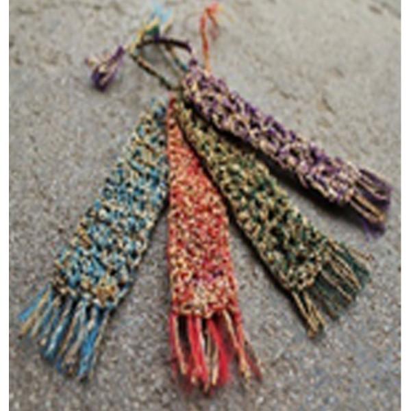 Ladies Handmade Crochet Banana Natural Fibre Bookmarks set of 5