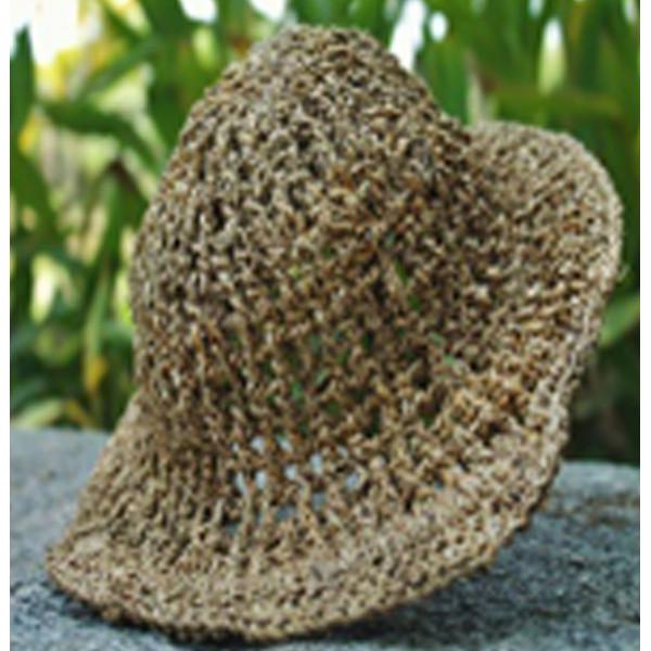 Handmade Crochet Banana Natural Fibre Round Net Hat