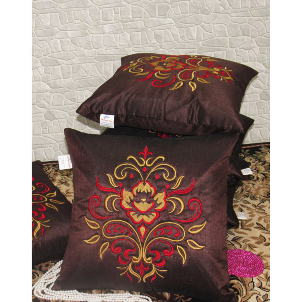Zikrak Exim Set of 5 Poly Dupion Cushion Covers maroon contemporary 40X40 cm (16X16)